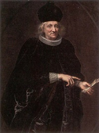 portrait of a senator in robes of office, holding a letter by enrico (giovanni e.) waymer