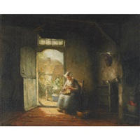 peeling potatoes by jacques (jacob cornelis) snoeck