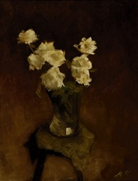 still-life with white roses in a glass vase on a stool by marie heineken
