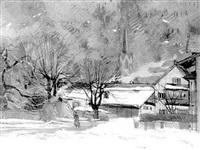 winterliches dorf im chiemgau by hans müller-schnuttenbach