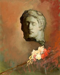 stilleven met bloemen en gebeeldhouwde kop by lizzy ansingh