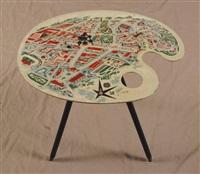 table souvenir en forme de palette au décor de l'exposition universelle de bruxelles by lucien de roeck