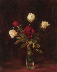 roses in a glass vase by jan geerard smit