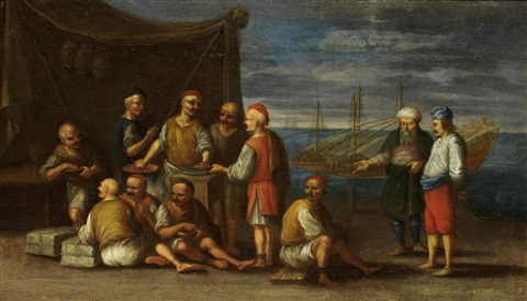 galley slaves taking water at a fountain and merchants on a quay with galley slaves nearby pair by johannes lingelbach