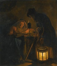 an interior with an old woman reading by candlelight and a man holding a lantern by michiel versteegh