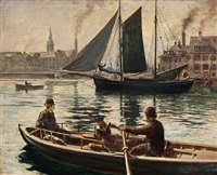 harbour scape from copenhagen by olaf viggo peter langer