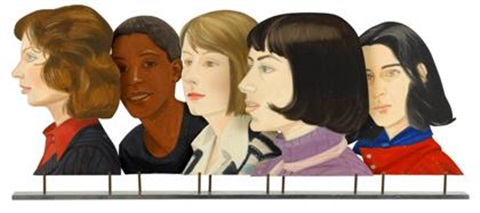five women study for times square mural by alex katz
