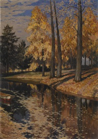 a park lake in autumn by mikhail markianovich germanshev