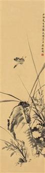 蝶舞蘭石圖 (calligraphy) by jiang jingguo