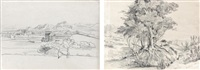 une vue de hucchu, chili et paysage (2 works) by auguste borget