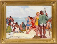 figures on beach by george a. renouard