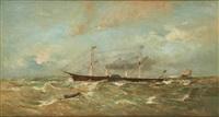 voile et vapeur avant l'orage by louis artan de saint-martin