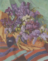 lilacs in a vase by mikhail akinchine