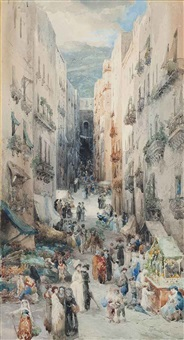 a bustling neapolitan market, the fortress of st. elmo above by leopoldina borzino