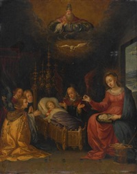 madonna and child with god the father, the holy spirit, and adoring angels by pieter lisaert