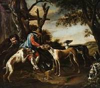 hunters resting with their dogs by abraham danielsz hondius