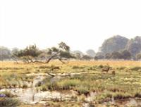 deer in a watermeadow by wilhelm andersen