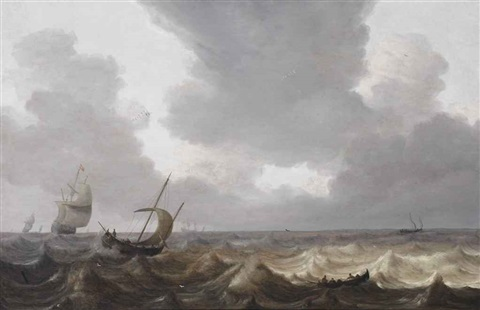 a fishing boat and a rowing boat on choppy water, a three-master in the distance by pieter mulier the elder