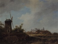a panoramic summer landscape with villagers by a windmill, bentheim beyond by pierre louis dubourcq