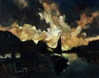 zeilbootje afgemeerd bij boerderij in avondlicht by toon koster