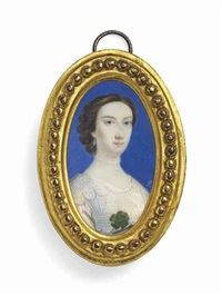 lady mary osborn, née montagu (1718-1743), wearing a white dress with lace detailing, pearl necklace and drop earrings; blue background by peter paul lens