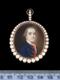 a gentleman, wearing blue coat with gold embroidered button holes, red waistcoat, white cravat and powdered wig worn en queue by john smart