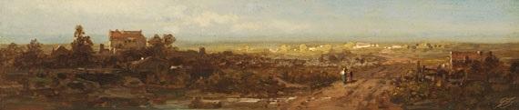 aus franken fränkische landschaft städtchen in der ferne in der abendsonne by carl spitzweg