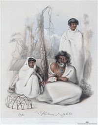 na horua or tom street. (elder brother of rauparaha). e wai, his wife. tuarua, or kopai, his son. at kahotea, near porirua by george french angas