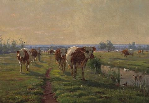 cattle returning from pasture by léon barillot