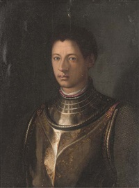 portrait of a gentleman, bust-length, in armour by agnolo bronzino