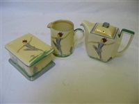 teapot of canted oblong form (+ butter dish; 2 works) by suzan (ph) cooper