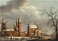 a winter landscape with figures skating on ice in front of the oostpoort, delft by paul van liender