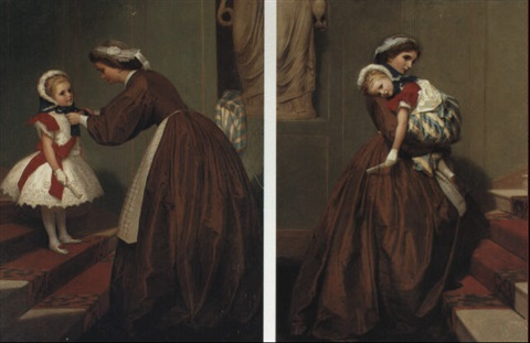 miss lily's carriage stops the way; miss lil's  return from the ball by james hayllar