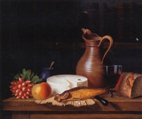 still life of fruit, cheese, fish and wine by ange louis guillaume lesourd-beauregard