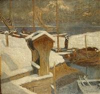 ondergesneeuwde haven by charles mertens