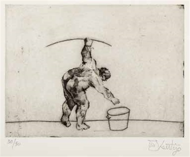 untitled (artist bending) by william kentridge