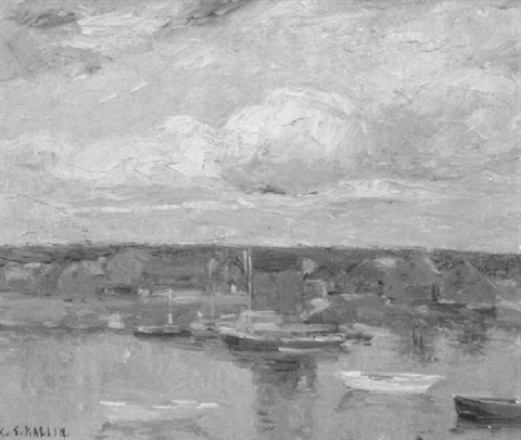 boats in a harbor by charles salis kaelin