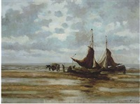 ships resting on the shore by henry guy fangel