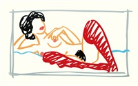 fast sketch stocking nude by tom wesselmann
