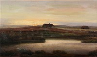 evening landscape from denmark by hans ludvig smidth