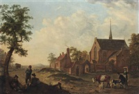 travellers and herdsmen resting with cattle by a village church by johannes huibert (hendric) prins