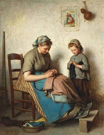 the knitting lesson by charles moreau