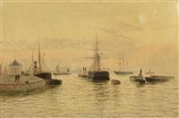bateaux anglais dans un port (pair) by edward henry eugene fletcher