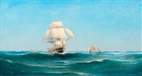 ships at sea by ludvig otto richarde