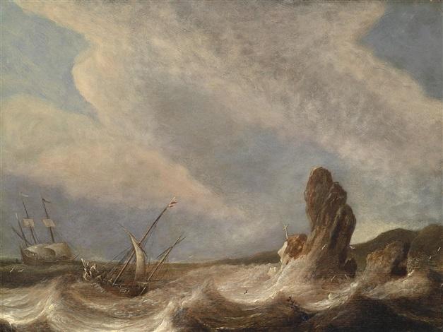 schiffe im seesturm vor felsiger küste by pieter mulier the elder