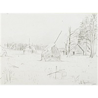 winter landscape, trees and haystacks (+ 2 others; 3 works) by mikhail markelovich guzhavin