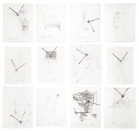 drawings after 'codices madrid' by leonardo da vinci (set of 12) by joseph beuys