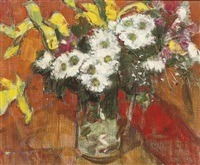 flowers in a glass jug by gordon bryce