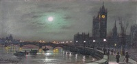 The Thames in moonlight and Westminster in...