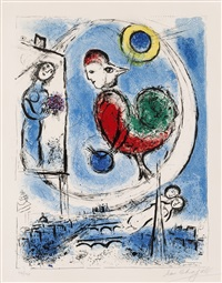 the rooster over paris by marc chagall